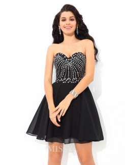 A-Line/Princess Sleeveless Sweetheart Paillette Mini Chiffon Cocktail Dress