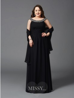 A-Line/Princess Scoop Rhinestone Sleeveless Floor-Length Chiffon Plus Size Dresses