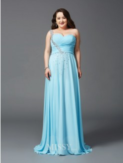 A-Line/Princess One-Shoulder Rhinestone Sweep/Brush Train Sleeveless Chiffon Plus Size Dresses