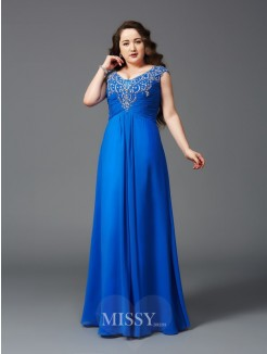A-Line/Princess Straps Beading Floor-Length Short Sleeves Chiffon Plus Size Dresses