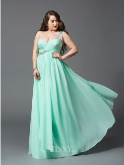 A-Line/Princess One-Shoulder Rhinestone Floor-Length Sleeveless Chiffon Plus Size Dresses