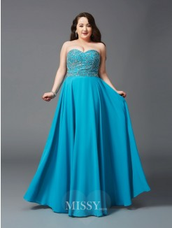 A-Line/Princess Sweetheart Beading Floor-Length Sleeveless Chiffon Plus Size Dresses