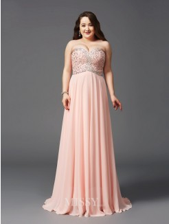 A-Line/Princess Sweetheart Beading Sweep/Brush Train Sleeveless Chiffon Plus Size Dresses