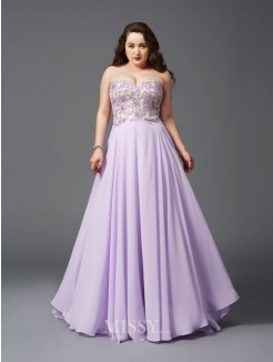 A-Line/Princess Sweetheart Lace Sweep/Brush Train Sleeveless Chiffon Plus Size Dresses