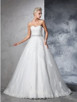 Ball Gown Sleeveless Sweetheart Net Applique Chapel Train Wedding Dresses