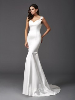 Trumpet/Mermaid Sleeveless Straps Sweep/Brush Train Satin Wedding Dresses