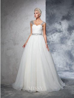 Ball Gown Sleeveless Straps Net Ruched Chapel Train Wedding Gown