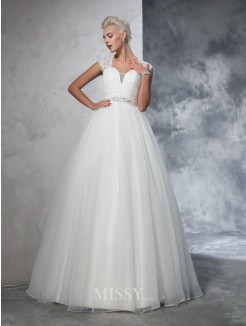 Ball Gown Sleeveless Sweetheart Tulle Ruched Sweep/Brush Train Wedding Gown