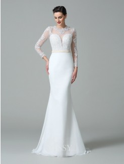 Trumpet/Mermaid Jewel Long Sleeves Lace Sweep/Brush Train Satin Wedding Dresses