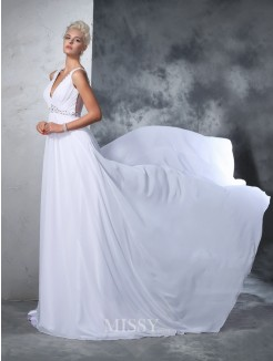 A-Line/Princess Sleeveless V-neck Chiffon Beading Cathedral Train Wedding Gown