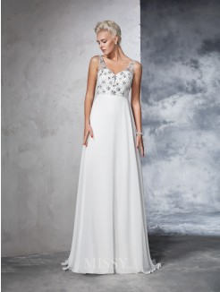 A-Line/Princess Sleeveless V-neck Chiffon Beading Sweep/Brush Train Wedding Gown
