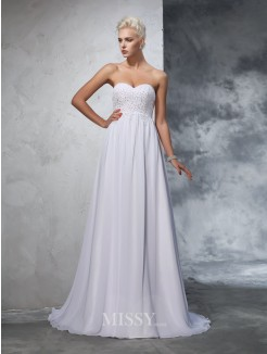 A-Line/Princess Sleeveless Sweetheart Chiffon Beading Sweep/Brush Train Wedding Gown