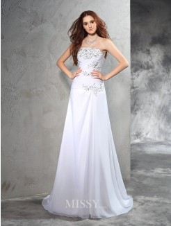 Sheath/Column Strapless Sleeveless Beading Sweep/Brush Train Chiffon Wedding Dresses