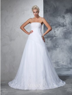 Ball Gown Strapless Sleeveless Net Applique Court Train Wedding Gown