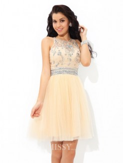 A-Line/Princess Sleeveless Sheer Neck Beading Mini Net Cocktail Dress