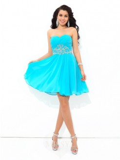 A-Line/Princess Sweetheart Pleats Sleeveless Mini Chiffon Cocktail Dress