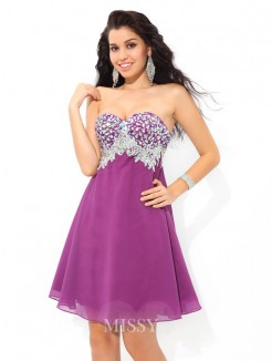 A-Line/Princess Sleeveless Sweetheart Rhinestone Mini Chiffon Cocktail Dress