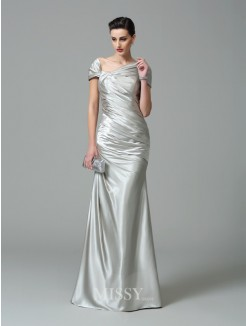 Sheath/Column Off-the-Shoulder Short Sleeves Pleats Floor-Length Silk like Satin Dresses