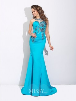 Trumpet/Mermaid Scoop Applique Sleeveless Sweep/Brush Train Satin Dress