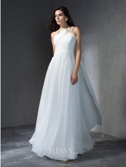 A-Line/Princess Jewel Sleeveless Floor-Length Chiffon Dresses