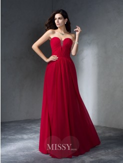 A-Line/Princess Sleeveless Sweetheart Chiffon Floor-Length Dresses