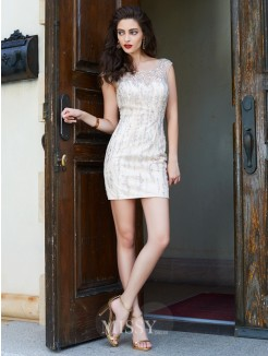 Sheath/Column Scoop Sleeveless Beading Short/Mini Net Dresses