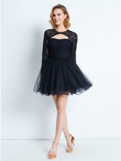 A-Line/Princess High Neck Long Sleeves Lace Short/Mini Net Dresses