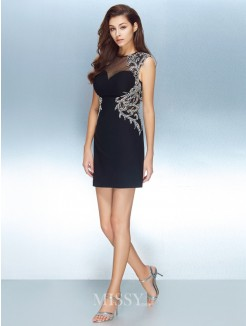 Sheath/Column Jewel Short Sleeves Net Short/Mini Dresses