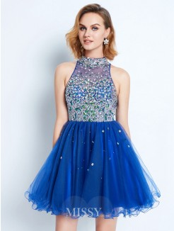 A-line/Princess High Neck Ruffles Sleeveless Short/Mini Net Dress