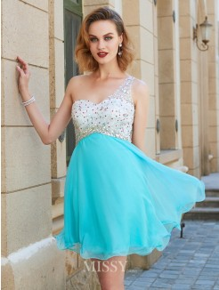 A-line/Princess Sleeveless One-Shoulder Beading Chiffon Short/Mini Dresses