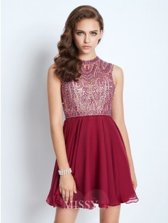 A-Line/Princess Jewel Sleeveless Chiffon Beading Short/Mini Dresses