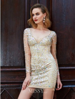 Sheath/Column Scoop Long Sleeves Net Rhinestone Short/Mini Dresses