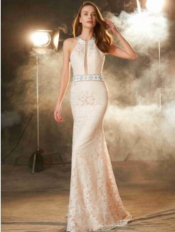 Column Halter Sleeveless Floor-Length Lace Satin Prom Gown