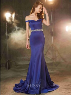 Trumpet/Mermaid Off-the-Shoulder Sleeveless Sweep/Brush Train Satin Prom Gown