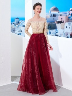 A-Line/Princess Sheer Neck Floor-Length Long Sleeves Applique Organza Prom Gown