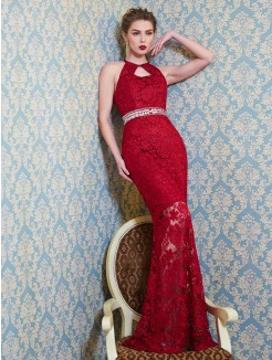 Sheath/Column Jewel Sleeveless Beading Floor-Length Lace Dresses
