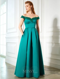 A-Line Off-the-Shoulder Sequin Sleeveless Satin Floor-Length Dress