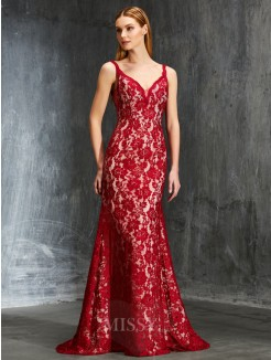 Sheath/Column Spaghetti Straps Sleeveless Sweep/Brush Train Applique Lace Gowns