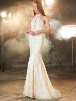 Sheath Jewel Sleeveless Floor-Length Applique Lace Prom Gown