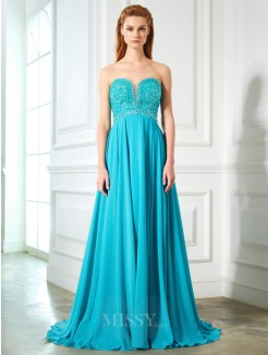 A-Line Sweetheart Beading Sleeveless Chiffon Sweep/Brush Train Dresses