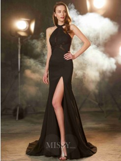 Sheath Jewel Sleeveless Sweep/Brush Train Beading Elastic Woven Satin Prom Gown