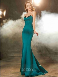 Trumpet/Mermaid Sweetheart Sleeveless Ruched Sweep/Brush Train Satin Prom Gown