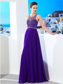 A-Line/Princess Sleeveless Chiffon Scoop Floor-Length Dresses