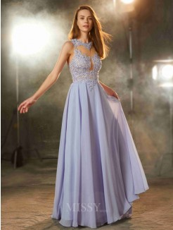 A-Line Scoop Sleeveless Floor-Length Applique Chiffon Evening Wear