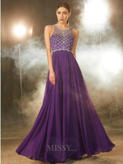 A-Line Sleeveless Chiffon Scoop Floor-Length Evening Wear