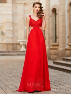 A-Line Straps Sleeveless Floor-Length Applique Chiffon Evening Wear