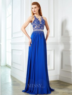 A-Line Sleeveless Sheer Neck Chiffon Applique Sweep/Brush Train Evening Wear