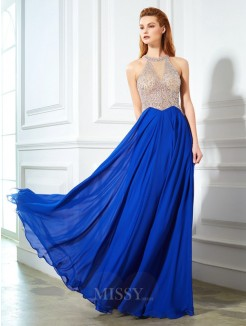 A-Line Scoop Sleeveless Floor-Length Chiffon Evening Wear