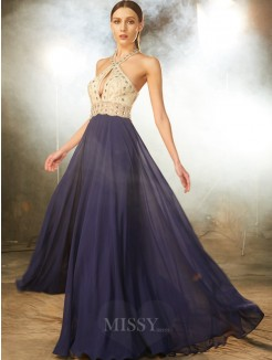A-Line Sleeveless Straps Beading Chiffon Floor-Length Evening Wear