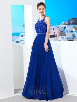 A-Line Jewel Sleeveless Beading Chiffon Sweep/Brush Train Evening Wear